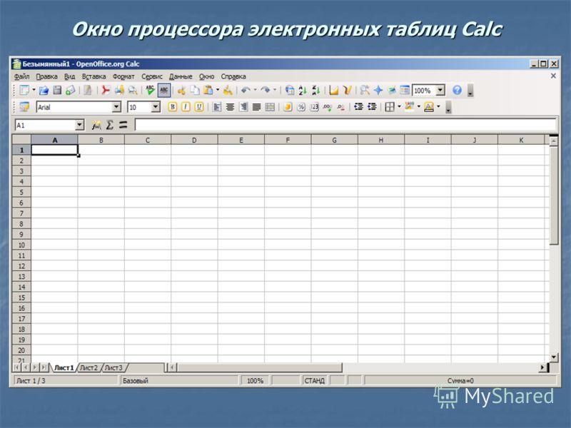 Окно процессора электронных таблиц Calc