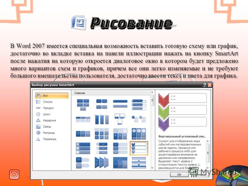 Рисование В Word 2007 имеется специальная возможность вставить готовую схему или график, достаточно во вкладке вставка на панели иллюстрации нажать на кнопку SmartArt после нажатия на которую откроется диалоговое окно в котором будет предложено много