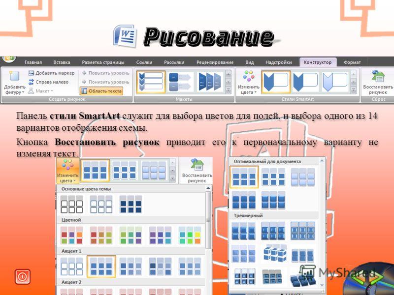 Рисование Панель стили SmartArt служит для выбора цветов для полей, и выбора одного из 14 вариантов отображения схемы. Кнопка Восстановить рисунок приводит его к первоначальному варианту не изменяя текст. Панель стили SmartArt служит для выбора цвето