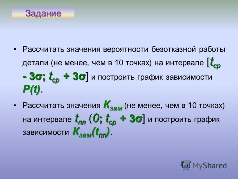 Задание t ср - 3σ; t ср + 3σ Р(t)Рассчитать значения вероятности безотказной работы детали (не менее, чем в 10 точках) на интервале [ t ср - 3σ; t ср + 3σ] и построить график зависимости Р(t). К зам t пл 0 ; t ср + 3σ К зам (t пл )Рассчитать значения