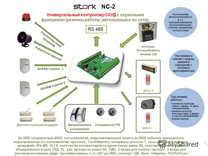До 2000 (опционально 4000) пользователей, энергонезависимая память на 2000 событий; возможность подключения до 2-х считывателей; протокол: TouchMemory; интервалы доступа: 7, часы реального времени, интерфейс: RS-485, 19.2 К, количество контроллеров н