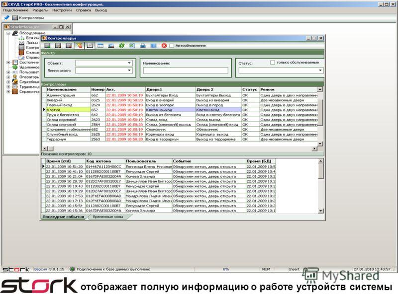отображает полную информацию о работе устройств системы