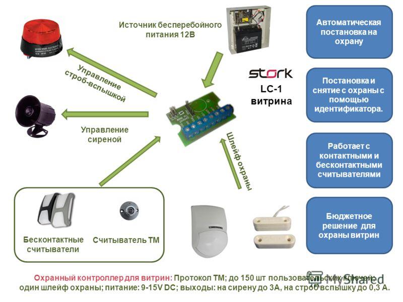 Охранный контроллер для витрин: Протокол TM; до 150 шт пользовательских ключей; один шлейф охраны; питание: 9-15V DC; выходы: на сирену до 3А, на строб вспышку до 0,3 А. Считыватель ТМ Бесконтактные считыватели Источник бесперебойного питания 12В Упр