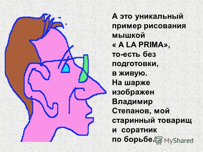 А это уникальный пример рисования мышкой « A LA PRIMA», то-есть без подготовки, в живую. На шарже изображен Владимир Степанов, мой старинный товарищ и соратник по борьбе.