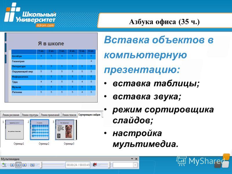 Азбука офиса (35 ч.) Вставка объектов в компьютерную презентацию: вставка таблицы; вставка звука; режим сортировщика слайдов; настройка мультимедиа.