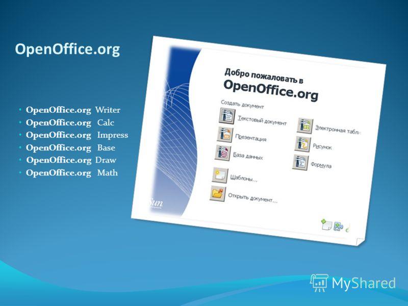 OpenOffice.org OpenOffice.org Writer OpenOffice.org Calc OpenOffice.org Impress OpenOffice.org Base OpenOffice.org Draw OpenOffice.org Math
