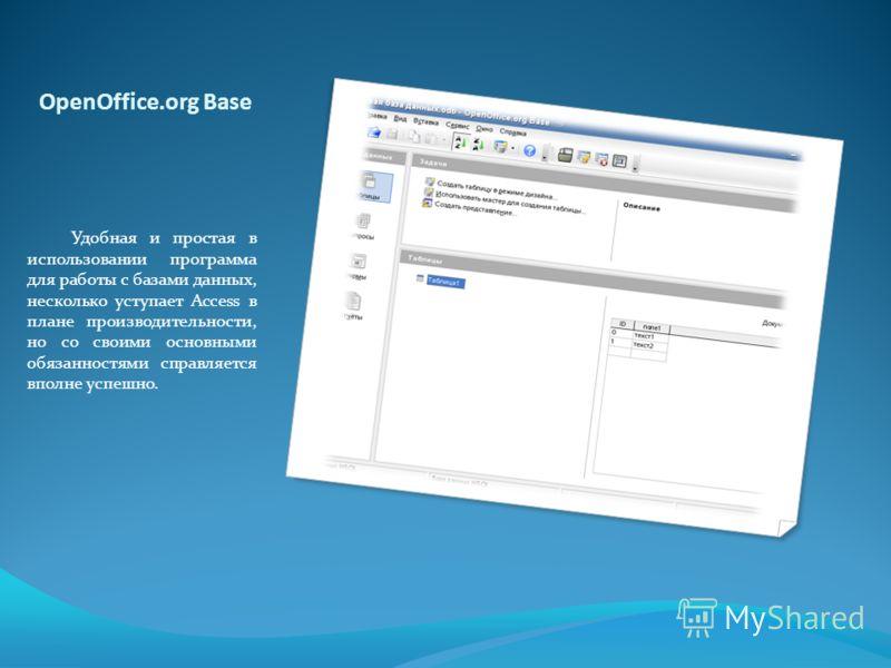 OpenOffice.org Base Удобная и простая в использовании программа для работы с базами данных, несколько уступает Access в плане производительности, но со своими основными обязанностями справляется вполне успешно.