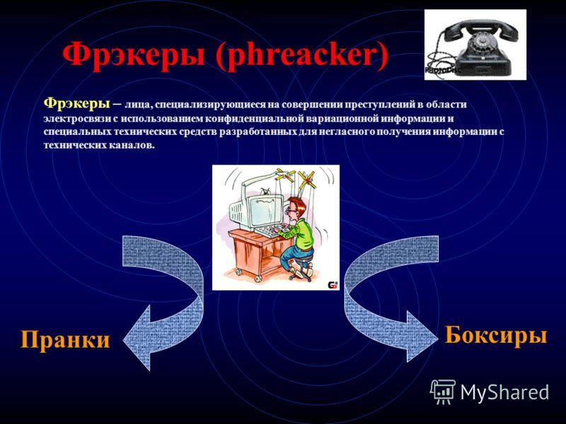 Фрэкеры (phreacker) Фрэкеры – лица, специализирующиеся на совершении преступлений в области электросвязи с использованием конфиденциальной вариационной информации и специальных технических средств разработанных для негласного получения информации с т