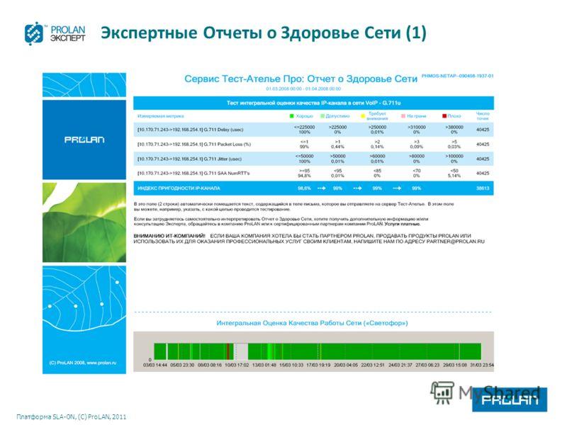 Платформа SLA-ON, (С) ProLAN, 2011 Экспертные Отчеты о Здоровье Сети (1)