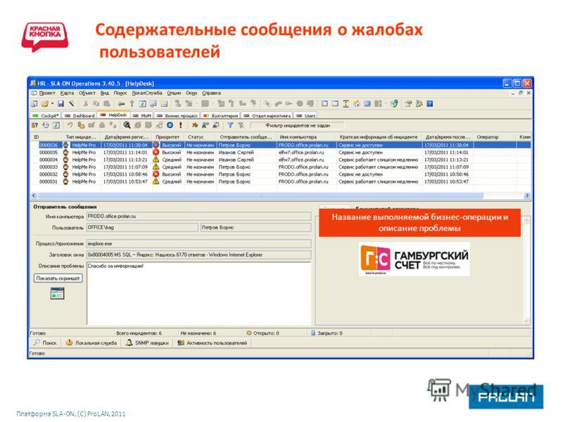 Платформа SLA-ON, (С) ProLAN, 2011 Содержательные сообщения о жалобах пользователей Название выполняемой бизнес-операции и описание проблемы