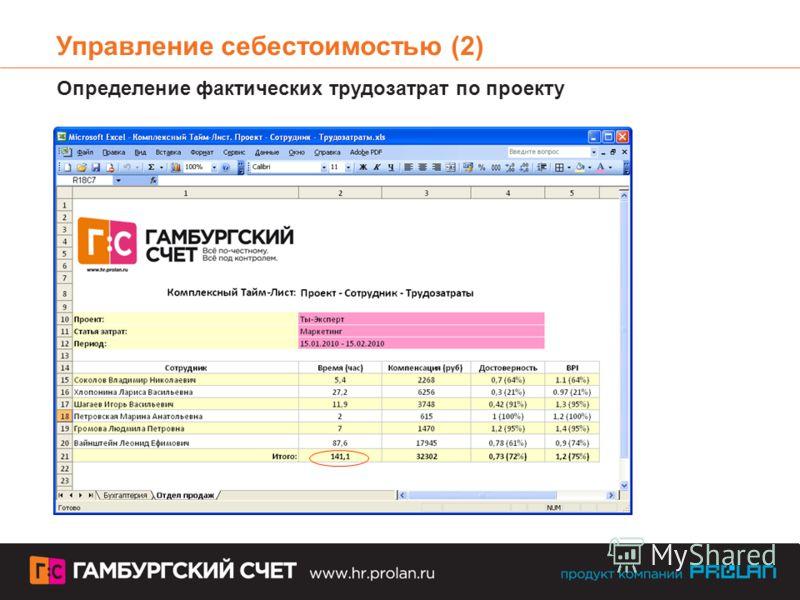 Управление себестоимостью (2) Определение фактических трудозатрат по проекту
