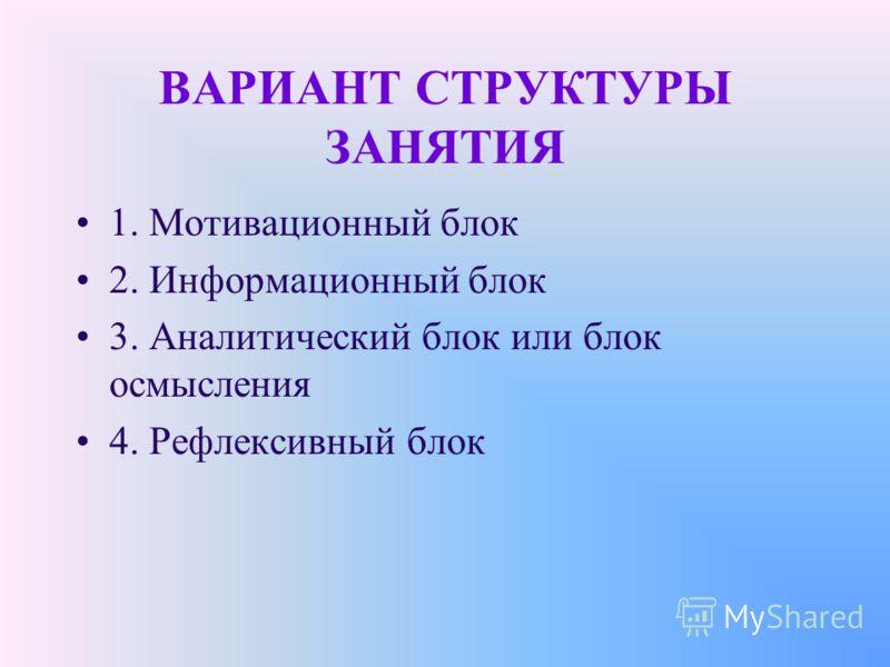 ВАРИАНТ СТРУКТУРЫ ЗАНЯТИЯ 1. Мотивационный блок 2. Информационный блок 3. Аналитический блок или блок осмысления 4. Рефлексивный блок