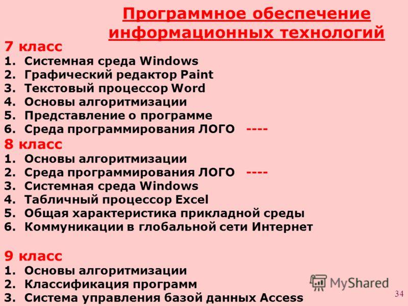 34 Программное обеспечение информационных технологий 7 класс 1.Системная среда Windows 2.Графический редактор Paint 3.Текстовый процессор Word 4.Основы алгоритмизации 5.Представление о программе 6.Среда программирования ЛОГО ---- 8 класс 1.Основы алг