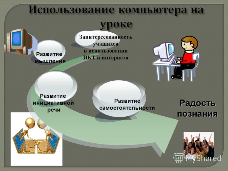 Радость познания Развитие мышления Развитие самостоятельности Развитие инициативной речи Заинтересованность учащихся в использовании ИКТ и интернета