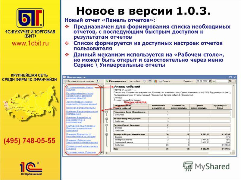 Новое в версии 1.0.3. Новый отчет «Панель отчетов»: Предназначен для формирования списка необходимых отчетов, с последующим быстрым доступом к результатам отчетов Список формируется из доступных настроек отчетов пользователя Данный механизм используе