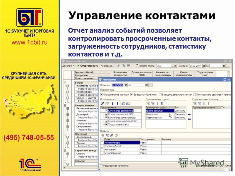 Управление контактами Отчет анализ событий позволяет контролировать просроченные контакты, загруженность сотрудников, статистику контактов и т.д.