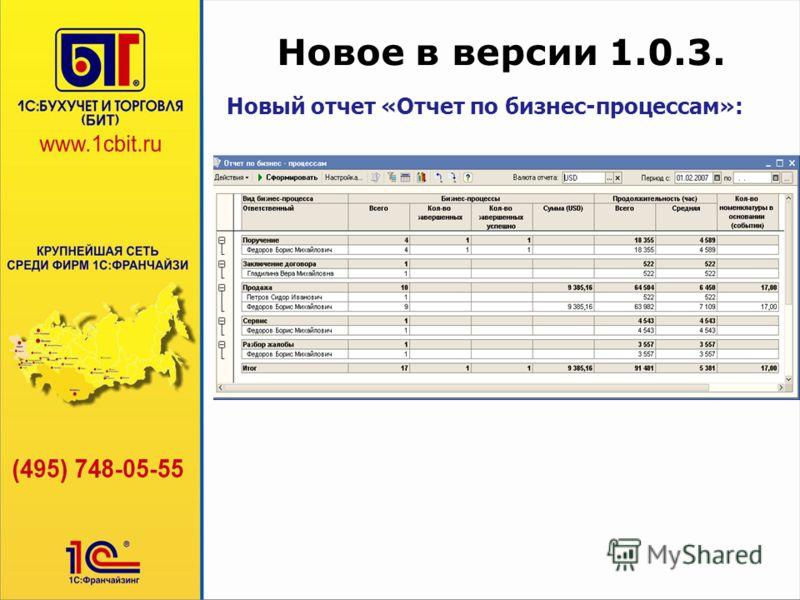 Новое в версии 1.0.3. Новый отчет «Отчет по бизнес-процессам»: