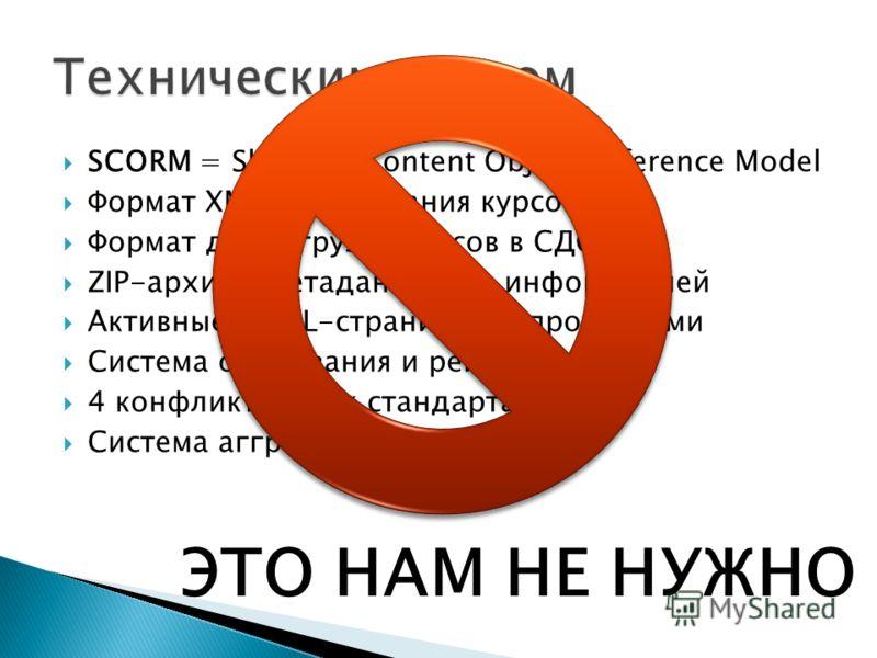 SCORM = Sharable Content Object Reference Model Формат XML для описания курсов Формат для загрузки курсов в СДО ZIP-архив с метаданными и информацией Активные HTML-страницы с опросниками Система оценивания и рейтингования 4 конфликтующих стандарта Си