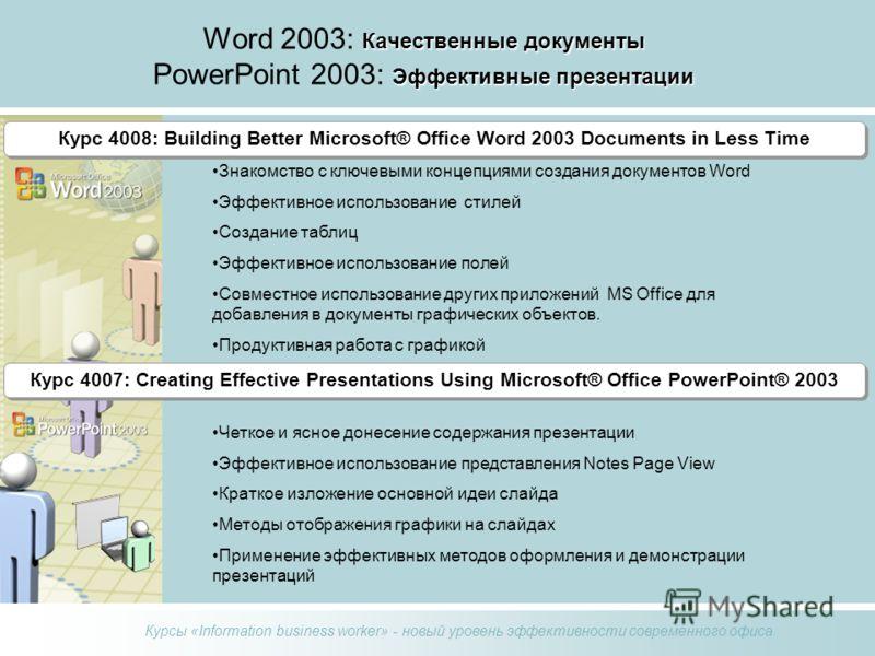 Курсы «Information business worker» - новый уровень эффективности современного офиса Качественные документы Эффективные презентации Word 2003: Качественные документы PowerPoint 2003: Эффективные презентации Курс 4008: Building Better Microsoft® Offic