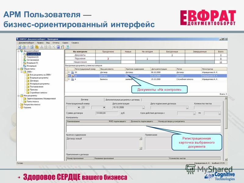 Регистрационная карточка выбранного документа Документы «На контроле» АРМ Пользователя бизнес-ориентированный интерфейс