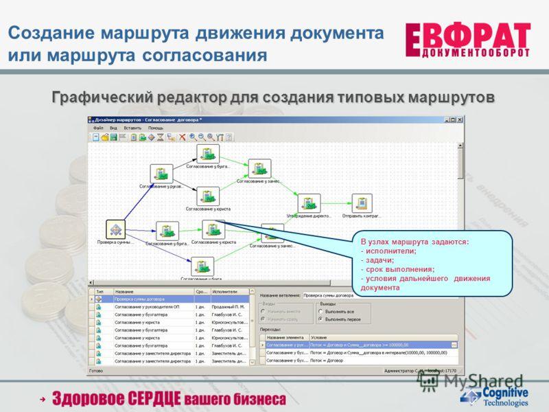 Графический редактор для создания типовых маршрутов В узлах маршрута задаются: - исполнители; - задачи; - срок выполнения; - условия дальнейшего движения документа Создание маршрута движения документа или маршрута согласования
