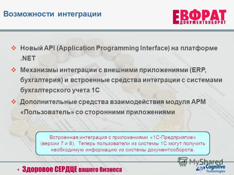Новый API (Application Programming Interface) на платформе.NET Механизмы интеграции с внешними приложениями (ERP, бухгалтерия) и встроенные средства интеграции с системами бухгалтерского учета 1С Дополнительные средства взаимодействия модуля АРМ «Пол