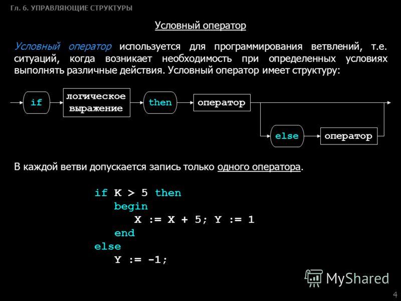 4 Гл. 6. УПРАВЛЯЮЩИЕ СТРУКТУРЫ Условный оператор if K > 5 then begin X := X + 5; Y := 1 еnd else Y := -1; Условный оператор используется для программирования ветвлений, т.е. ситуаций, когда возникает необходимость при определенных условиях выполнять