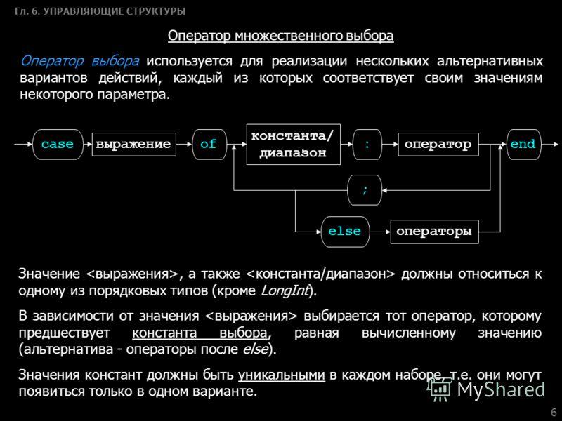6 Гл. 6. УПРАВЛЯЮЩИЕ СТРУКТУРЫ Оператор множественного выбора Оператор выбора используется для реализации нескольких альтернативных вариантов действий, каждый из которых соответствует своим значениям некоторого параметра. case выражение of константа/
