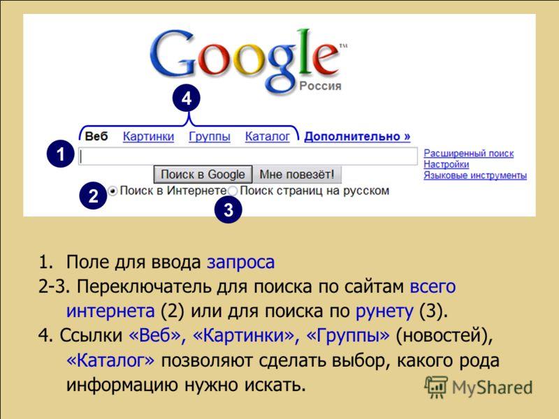 1.Поле для ввода запроса 2-3. Переключатель для поиска по сайтам всего интернета (2) или для поиска по рунету (3). 4. Ссылки «Веб», «Картинки», «Группы» (новостей), «Каталог» позволяют сделать выбор, какого рода информацию нужно искать. 1 2 3 4