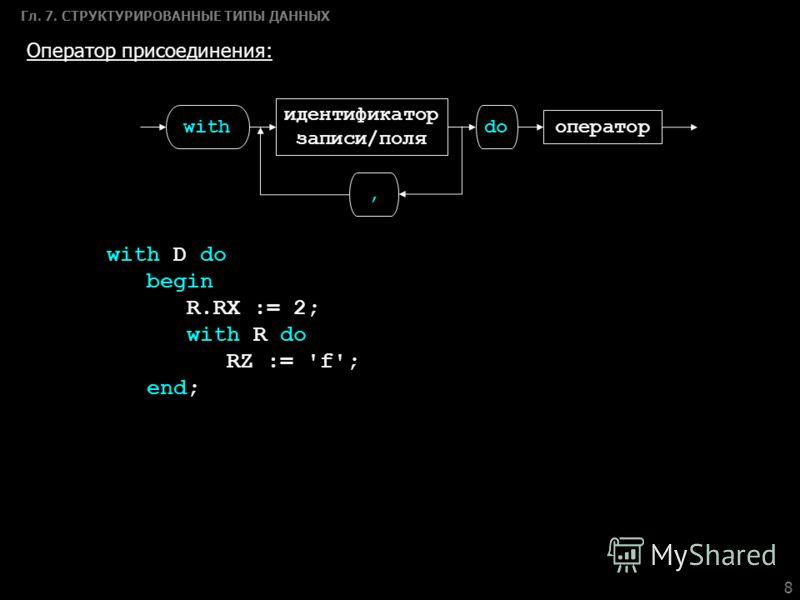 8 Гл. 7. СТРУКТУРИРОВАННЫЕ ТИПЫ ДАННЫХ Оператор присоединения: with оператор, идентификатор записи/поля do with D do begin R.RX := 2; with R do RZ := 'f'; end;
