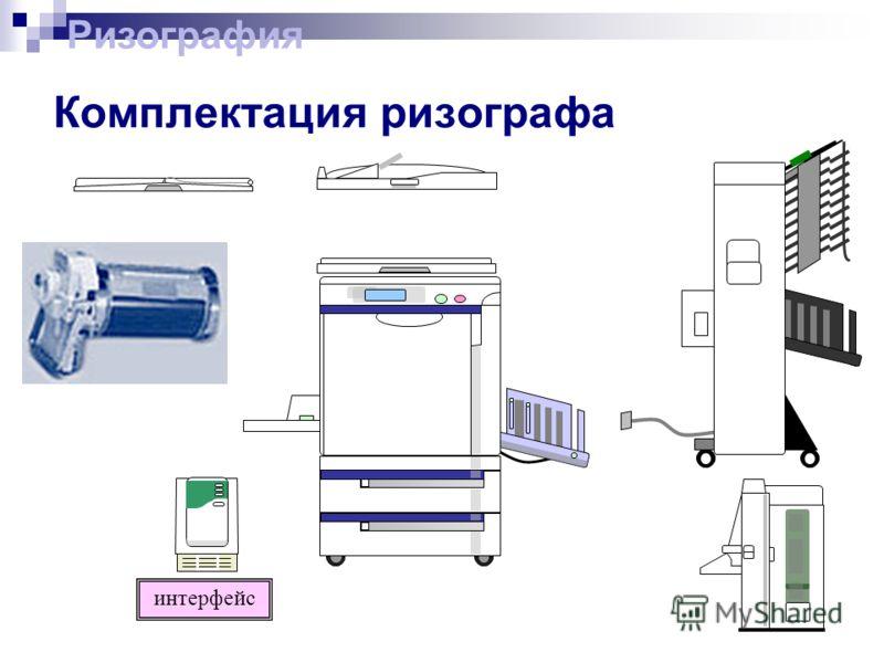 Комплектация ризографа интерфейс Ризография
