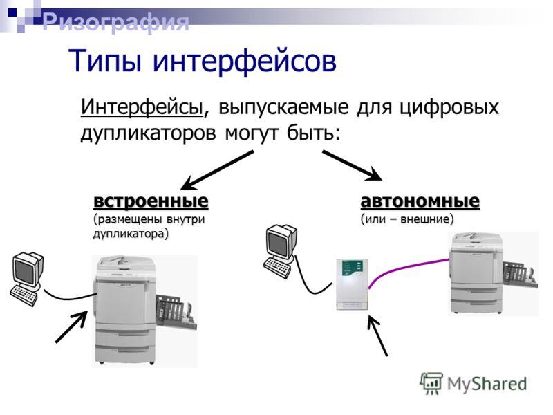 Типы интерфейсов Интерфейсы, выпускаемые для цифровых дупликаторов могут быть: встроенные (размещены внутри дупликатора) автономные (или – внешние) Ризография