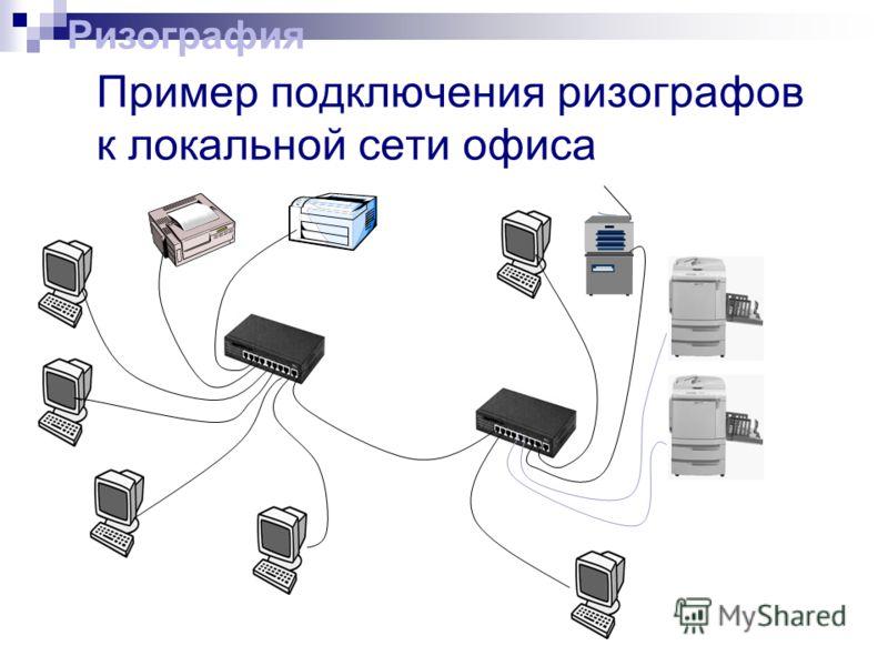 Пример подключения ризографов к локальной сети офиса Ризография