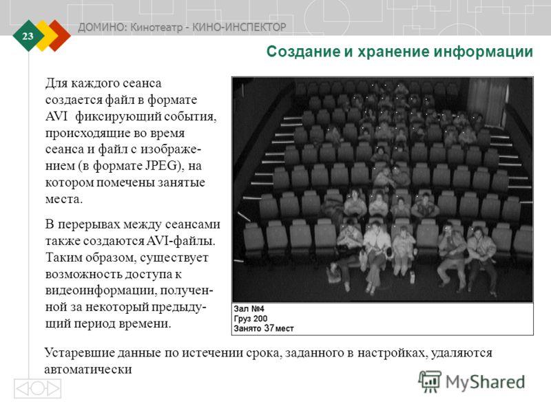 ДОМИНО: Кинотеатр - КИНО-ИНСПЕКТОР 23 Создание и хранение информации Для каждого сеанса создается файл в формате AVI фиксирующий события, происходящие во время сеанса и файл с изображе- нием (в формате JPEG), на котором помечены занятые места. В пере