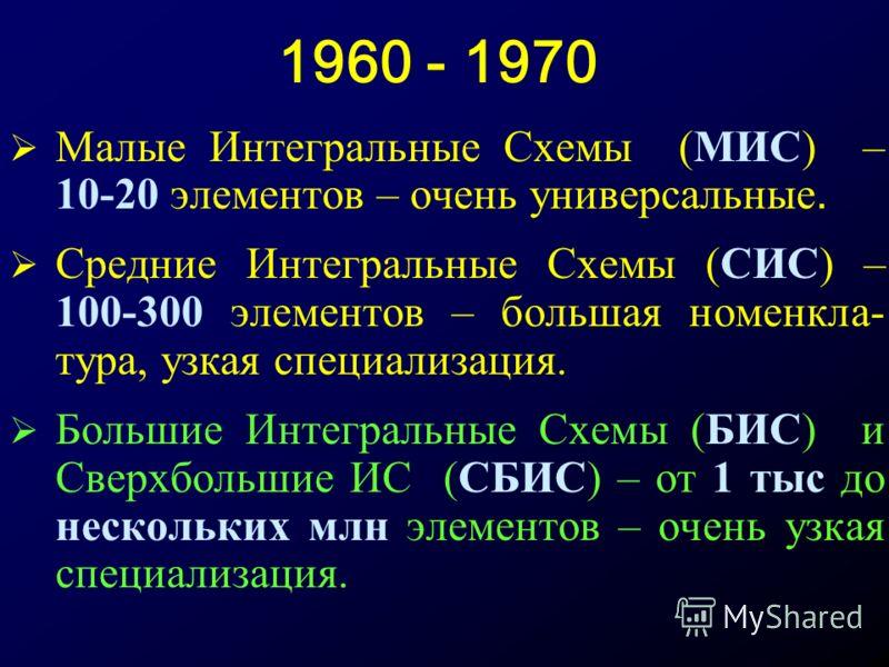 1960 - 1970 Малые Интегральные Схемы (МИС) – 10-20 элементов – очень универсальные. Средние Интегральные Схемы (СИС) – 100-300 элементов – большая номенкла- тура, узкая специализация. Большие Интегральные Схемы (БИС) и Сверхбольшие ИС (СБИС) – от 1 т