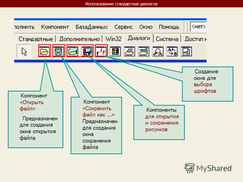 Использование стандартных диалогов Компонент «Открыть файл» Предназначен для создания окна открытия файла Компонент «Сохранить файл как...» Предназначен для создания окна сохранения файла Компоненты для открытия и сохранения рисунков Создание окна дл