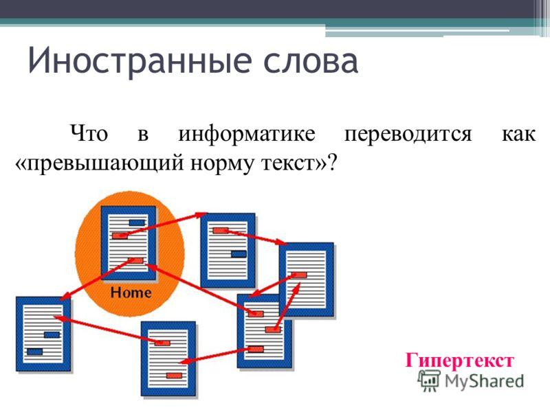 Название какого объекта на экране переводится как «рисованная запись»? Пиктограмма Иностранные слова