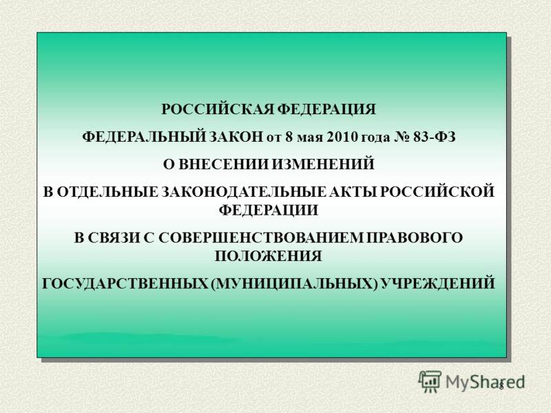 8 РОССИЙСКАЯ ФЕДЕРАЦИЯ ФЕДЕРАЛЬНЫЙ ЗАКОН от 8 мая 2010 года 83-ФЗ О ВНЕСЕНИИ ИЗМЕНЕНИЙ В ОТДЕЛЬНЫЕ ЗАКОНОДАТЕЛЬНЫЕ АКТЫ РОССИЙСКОЙ ФЕДЕРАЦИИ В СВЯЗИ С СОВЕРШЕНСТВОВАНИЕМ ПРАВОВОГО ПОЛОЖЕНИЯ ГОСУДАРСТВЕННЫХ (МУНИЦИПАЛЬНЫХ) УЧРЕЖДЕНИЙ