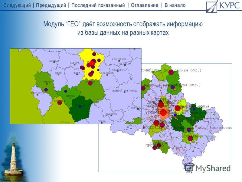 Модуль ГЕО даёт возможность отображать результаты продаж, имеющие пространственные характеристики, на цифровых географических картах