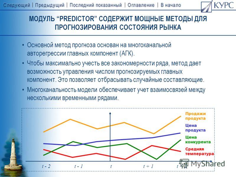 НАЗНАЧЕНИЕ МОДУЛЯ «PREDICTOR» PREDICTOR является инструментом прогнозирования, предназначенным, в первую очередь, для целей маркетинга, бизнес– планирования и сбыта. Особенности модуля «Predictor» –отсутствие требования к специальным статистическим з