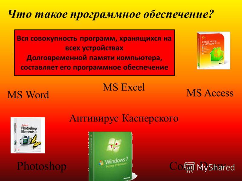 MS Excel Антивирус Касперского Что такое программное обеспечение? Вся совокупность программ, хранящихся на всех устройствах Долговременной памяти компьютера, составляет его программное обеспечение MS Word MS Access PhotoshopCorel Draw