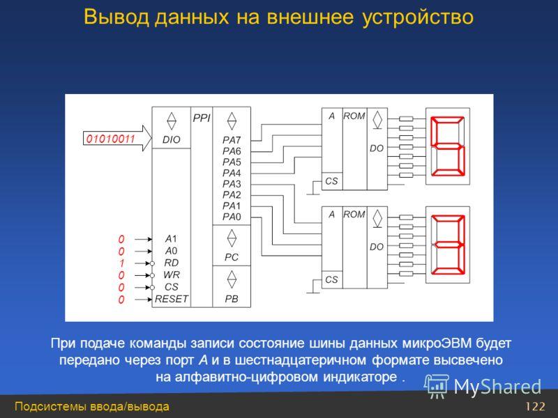 122 Подсистемы ввода/вывода 0 0 1 0 0 0 01010011 При подаче команды записи состояние шины данных микроЭВМ будет передано через порт A и в шестнадцатеричном формате высвечено на алфавитно-цифровом индикаторе. Вывод данных на внешнее устройство