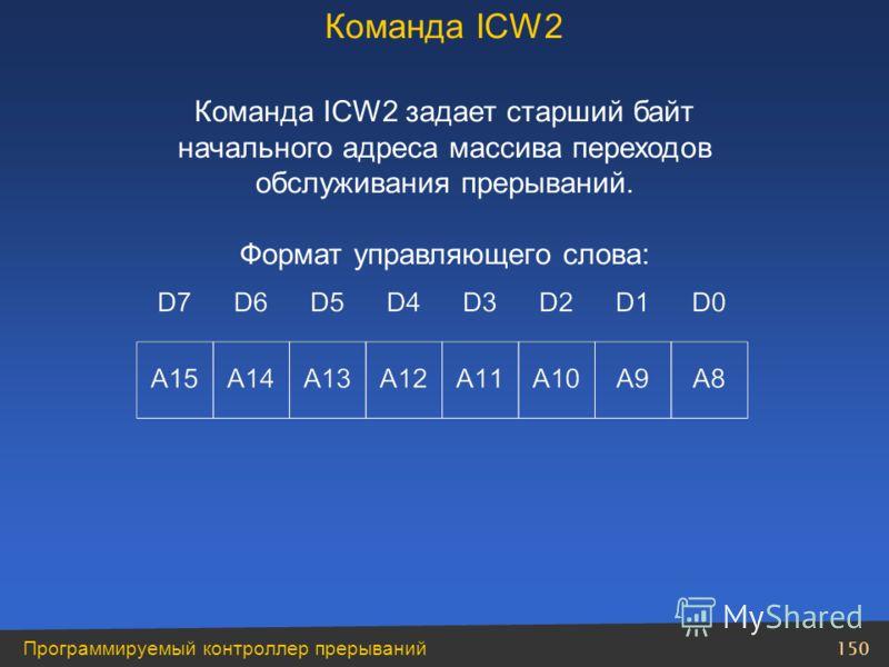 150 Программируемый контроллер прерываний Команда ICW2 задает старший байт начального адреса массива переходов обслуживания прерываний. Формат управляющего слова: Команда ICW2