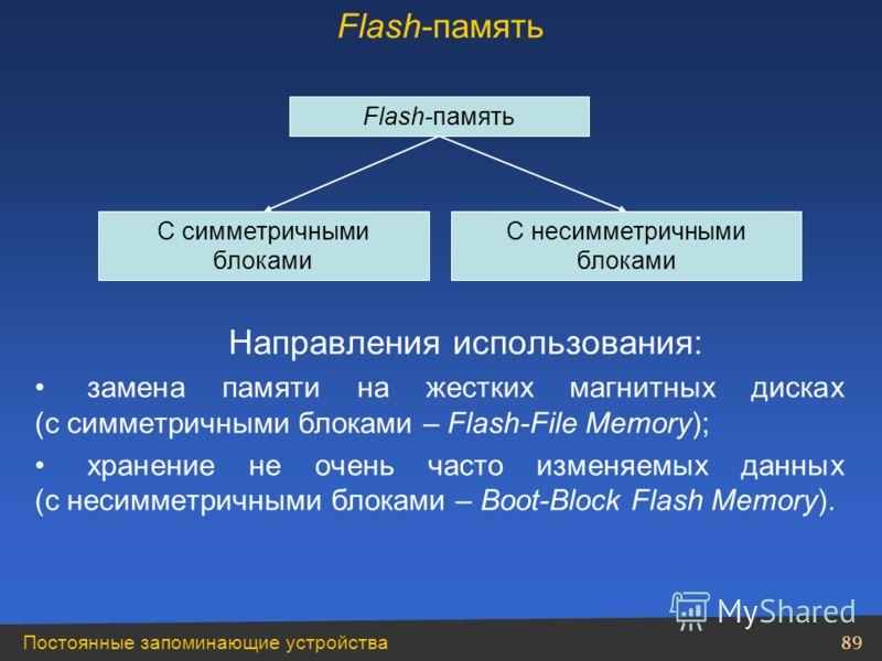Постоянные запоминающие устройства 89 Направления использования: замена памяти на жестких магнитных дисках (с симметричными блоками – Flash-File Memory); хранение не очень часто изменяемых данных (с несимметричными блоками – Boot-Block Flash Memory).