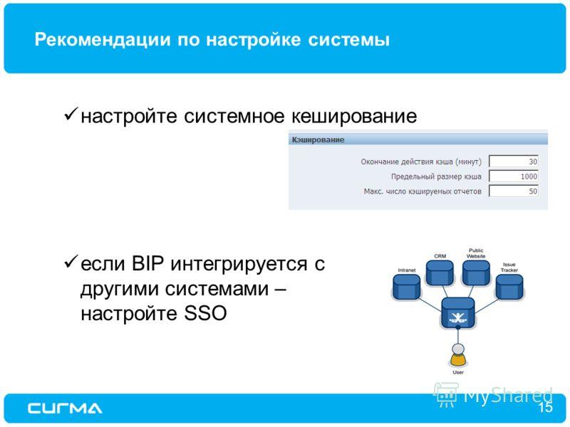 Рекомендации по настройке системы 15 настройте системное кеширование если BIP интегрируется с другими системами – настройте SSO