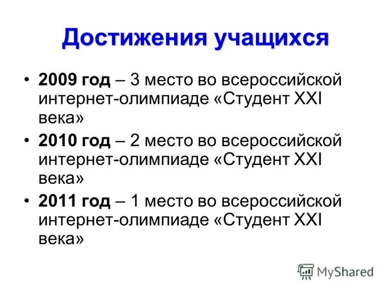 Достижения учащихся 2009 год – 3 место во всероссийской интернет-олимпиаде «Студент ХХI века» 2010 год – 2 место во всероссийской интернет-олимпиаде «Студент ХХI века» 2011 год – 1 место во всероссийской интернет-олимпиаде «Студент ХХI века»