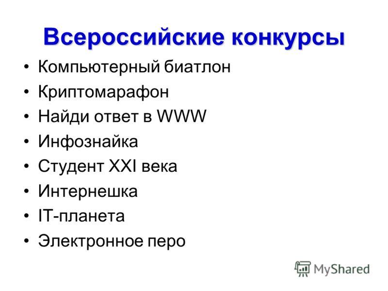 Всероссийские конкурсы Компьютерный биатлон Криптомарафон Найди ответ в WWW Инфознайка Студент ХХI века Интернешка IT-планета Электронное перо