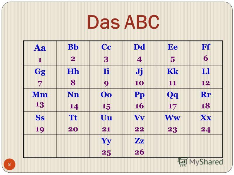 Das ABC Aa 1 Bb 2 Cc 3 Dd 4 Ee 5 Ff 6 Gg 7 Hh 8 Ii 9 Jj 10 Kk 11 Ll 12 Mm 13 Nn 14 Oo 15 Pp 16 Qq 17 Rr 18 Ss 19 Tt 20 Uu 21 Vv 22 Ww 23 Xx 24 Yy 25 Zz 26 8