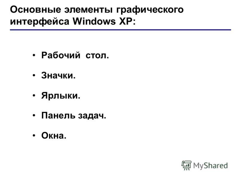 Основные элементы графического интерфейса Windows XP: Рабочий стол. Значки. Ярлыки. Панель задач. Окна.