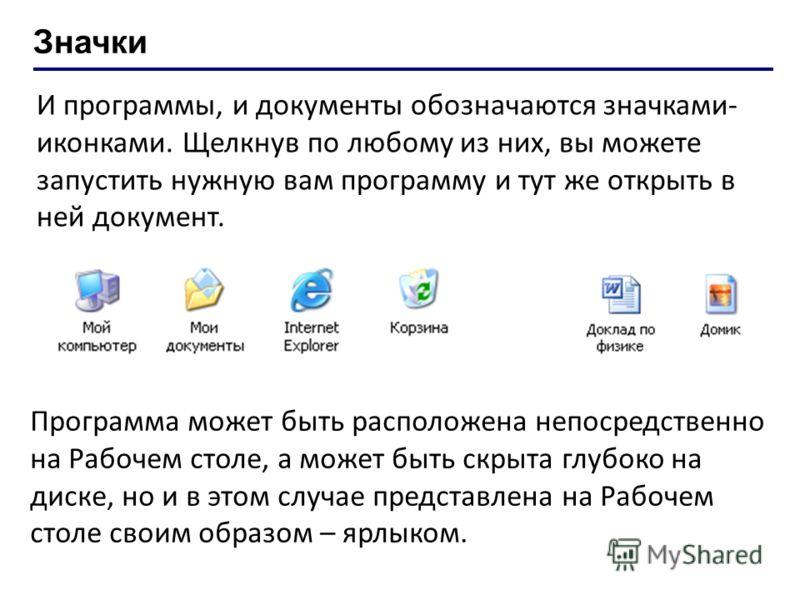 Значки И программы, и документы обозначаются значками- иконками. Щелкнув по любому из них, вы можете запустить нужную вам программу и тут же открыть в ней документ. Программа может быть расположена непосредственно на Рабочем столе, а может быть скрыт